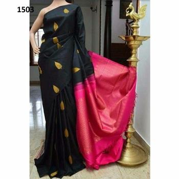 Black printed silk saree with blouse