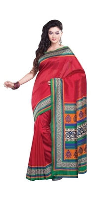 Aesha Designer Red Printed Silk Saree with matching blouse