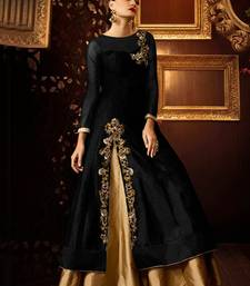 Buy Black embroidered taffeta salwar with dupatta semi-stitched-salwar-suit online