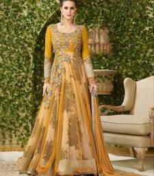 Buy Orange embroidered net salwar with dupatta anarkali-salwar-kameez online
