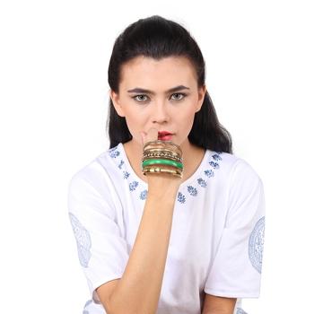 Metallic Green Bangles for Women