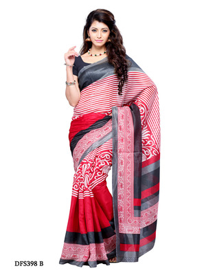 Black And Red Color Art Silk Party Wear Fancy Saree