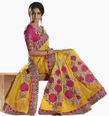 Magenta Embroidered Dupian Saree With Blouse