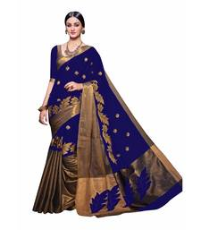 Buy Blue printed tussar silk saree with blouse tussar-silk-saree online