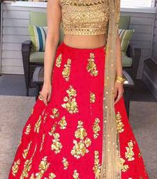 Buy Red embroidered satin unstitched lehenga with dupatta lehenga-below-2000 online