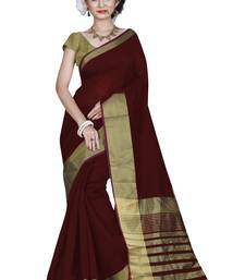 Buy Maroon hand woven cotton saree with blouse cotton-saree online