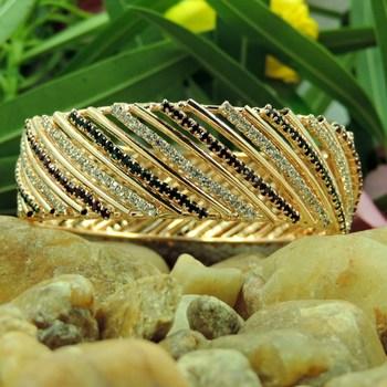 Multi Color Striped Crystal Bangles