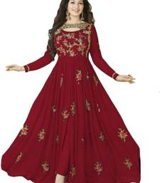 Buy Maroon embroidered georgette salwar with dupatta ethnic-suit online