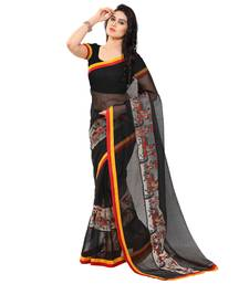 Buy Black cotton kanjivaram work saree with blouse kanchipuram-silk-saree online