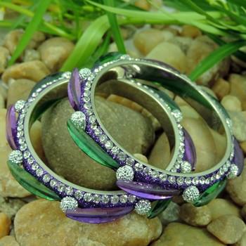 Purple and Green Color Designer Lakh Bangle
