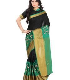 Buy Green silk solid patchwork saree with blouse kanchipuram-silk-saree online
