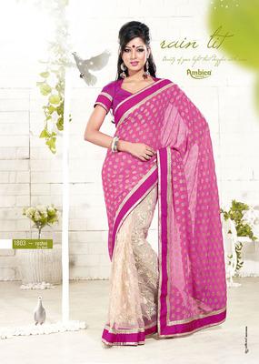 Captivate Pink & Off White Viscose Saree