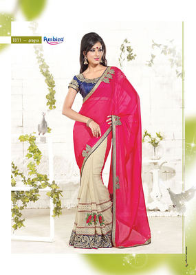 Royal Chickoo & Red Chiffon Saree