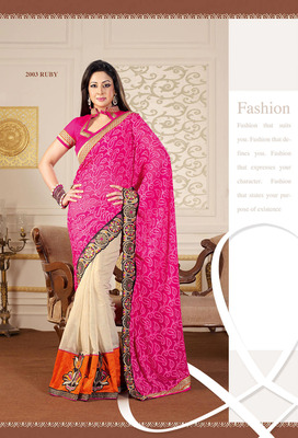 Radiant Pink & Orange Jacquard Saree