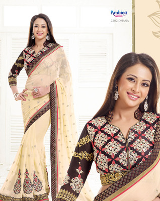 Gorgeous Cream & Brown Polyester Georgette Saree