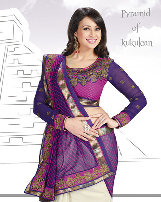 Sparkling Violet & Pink Georgette Saree With Embroidery Work
