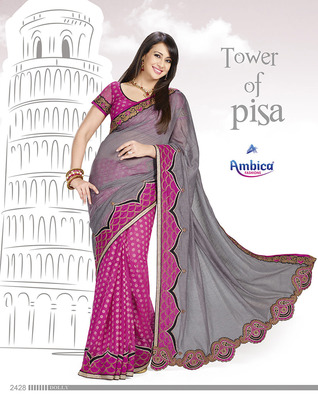 Astounding Pink Georgette Saree With Embroidery Work
