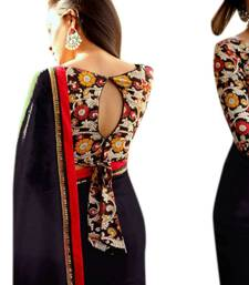 Buy Black hand woven faux georgette saree with blouse georgette-saree online
