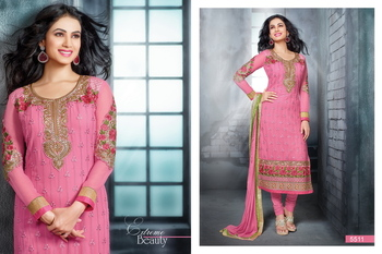 Pink Embroidery Georgette unstiched  party wear salwar kameez