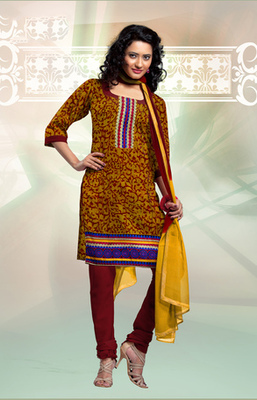 GOLDEN COTTON UNSTITCHED  dress material with dupatta