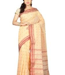 Buy Beige hand woven cotton saree with blouse handloom-saree online