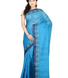 Buy Turquoise hand woven cotton saree with blouse handloom-saree online