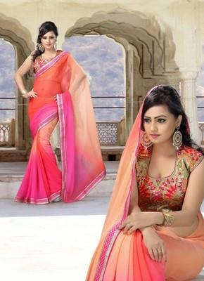 Orange Partywear Designer Chiffon Saree