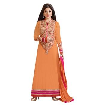 Orange Georgette Semi Stitch dress Zoolkiss7006