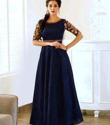 Buy Navy blue embroidered bhagalpuri cotton salwar with dupatta semi-stitched-salwar-suit online