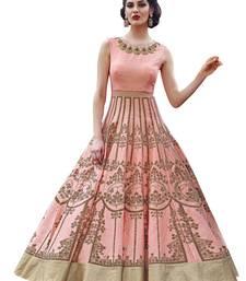 Buy Light peach embroidered art silk salwar with dupatta ethnic-suit online