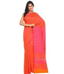 Buy Orange woven tussar silk saree with blouse banarasi-saree online