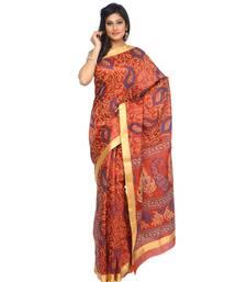 Buy Brown printed tussar silk saree with blouse banarasi-saree online