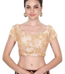 Buy Short sleeves beige embroidered unstitched blouse for women blouse-fabric online