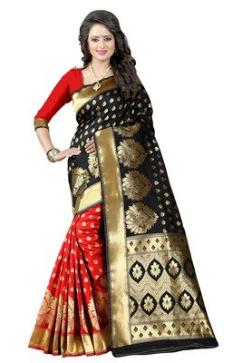 Black woven poly cotton saree with blouse