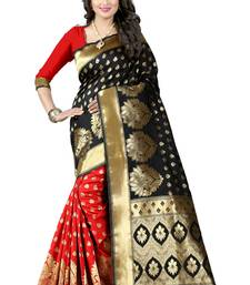 Buy Black woven poly cotton saree with blouse cotton-saree online