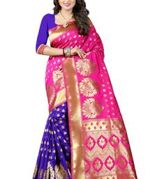 Buy Pink woven poly cotton saree with blouse kanchipuram-silk-saree online