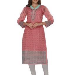 Buy Pink embroidered stitched cotton-kurtis chikankari-kurti online