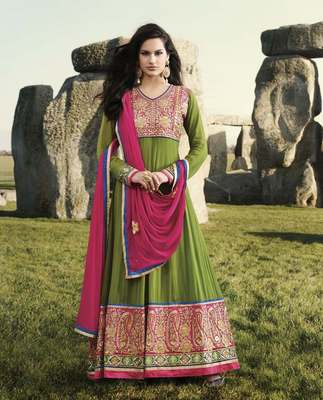 Pink, green Colored Georgette Embroidered Salwar Suit