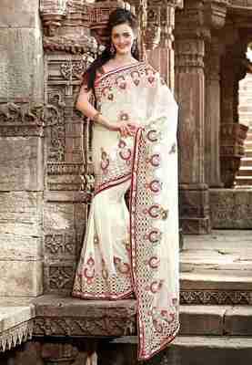 Off White Colored Pure Viscose Embroidered Saree