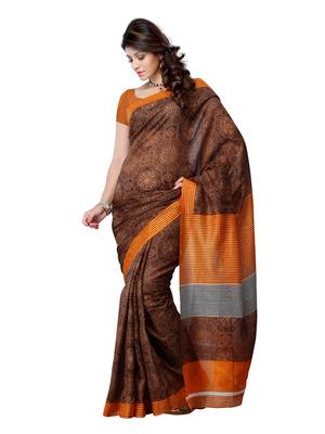 Dark Brown And Rust Color Art Silk Party Wear Fancy Saree