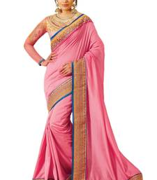 Buy Pink embroidered silk saree with blouse wedding-saree online