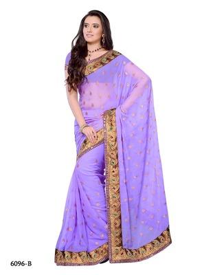 Lavender Color Georgette Designer Saree