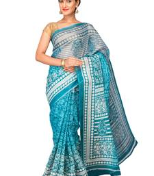 Buy Blue printed polycotton saree with blouse below-500 online