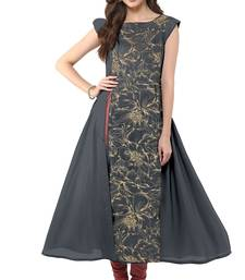 Buy Grey printed crepe stitched party-wear-kurtis party-wear-kurti online