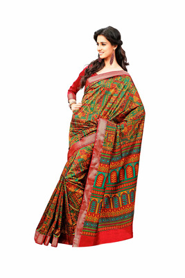 Multicolor Raw Silk Saree