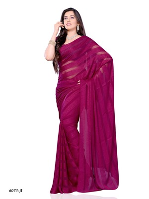Pink Color Georgette Casual Wear Saree With Fancy Fabric
