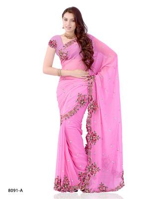 Pink Color Georgette Festival Wear Designer Saree