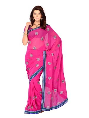 Pink Color Georgette PartyFestival Wear Saree