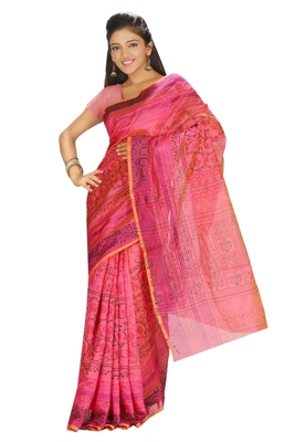 Printed Tussar Art Silk Saree in Pink KS008
