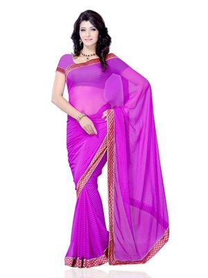 Purple Color Georgette PartyFestival Wear Saree